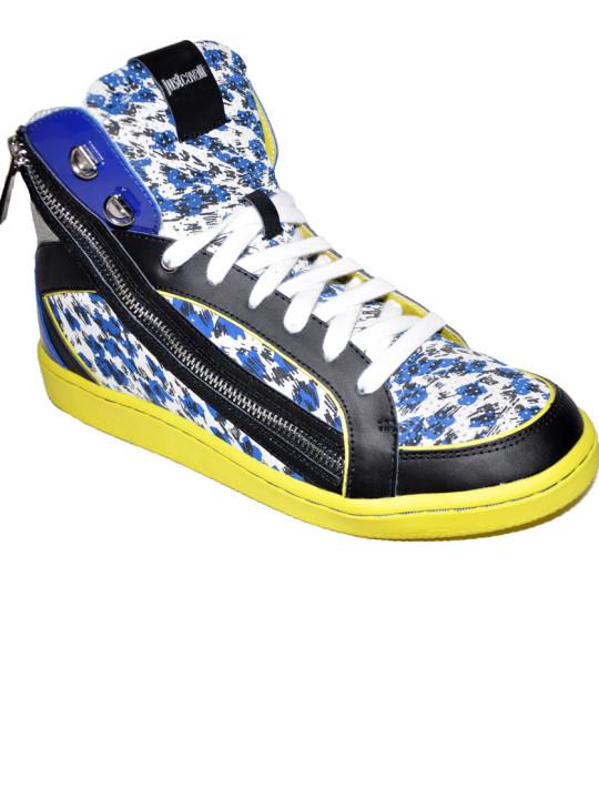 Just Cavalli Multicolored Print High-Top Sneakers
