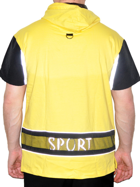 Cotton-Lycra Tee Shirt With Nylon Sleeves And Reflective Details