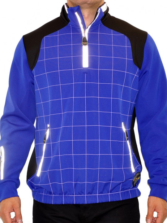 Grid Solbiato Techno Fabric Zip Neck