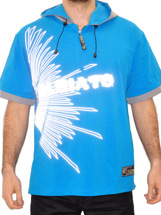 Cotton-Lycra Hoodie Tee Shirt