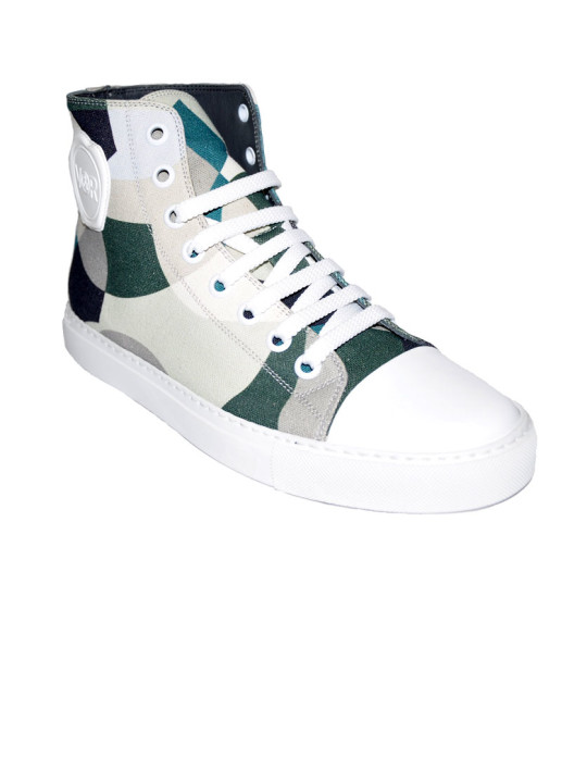 Canvas Pattern High-Top Sneakers
